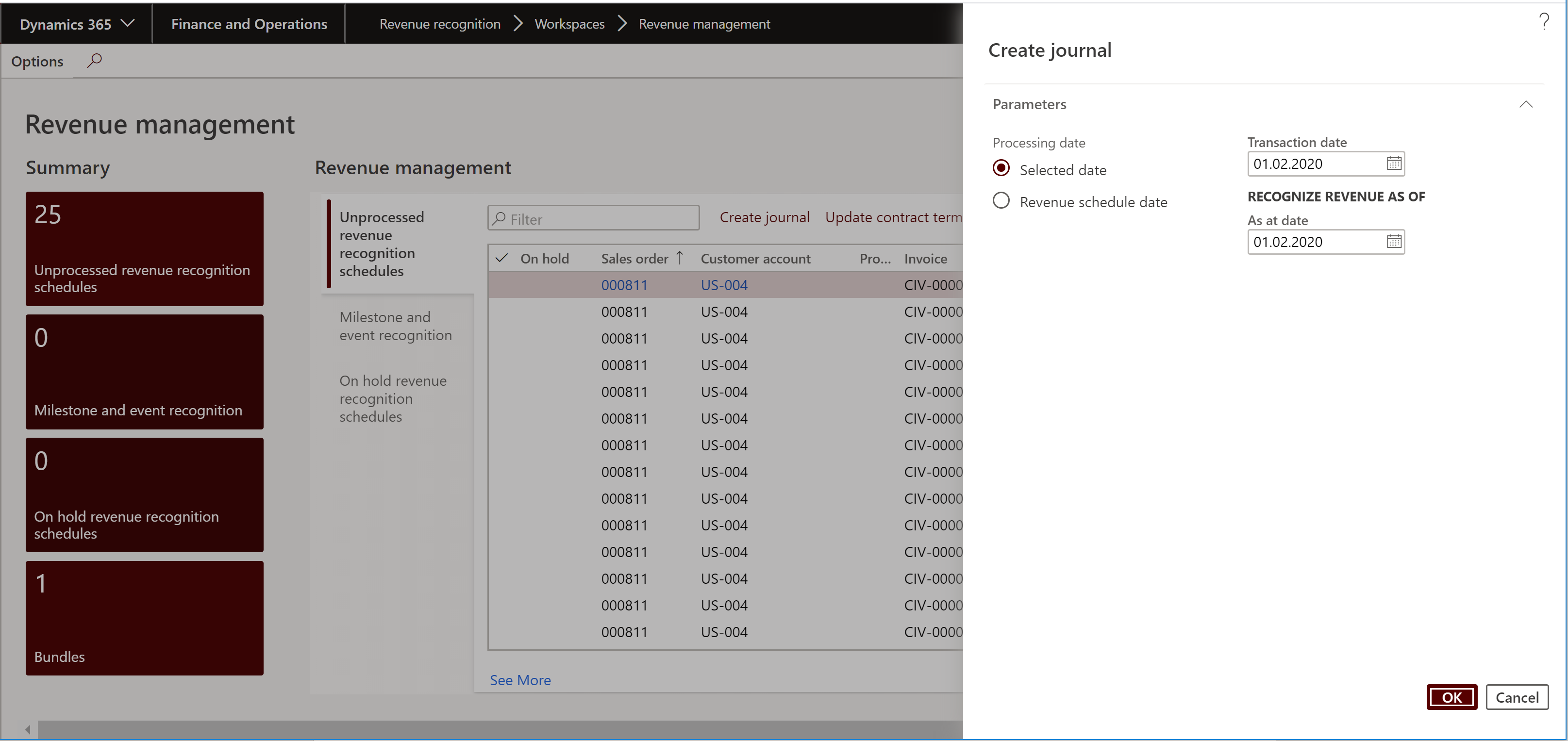 Revenue recognition workspace: Create journal